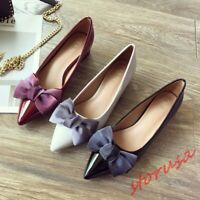 Womens Patent Leather Pointed Toe Bow knot Court Shoes Block Heels Slip On Pumps