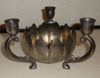 Leonard Silver plated Vintage Candle holder Candy dish Lotus Flower