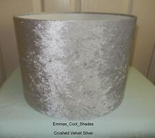 Handmade Lampshade in Silver Crushed Velvet Fabric 30cm Drum Lightshade Shade