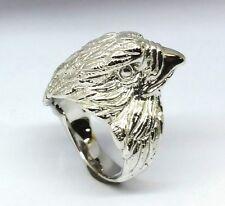 M057 HEAVY Genuine 9ct White GOLD MENS Eagle Falcon Ring Detail Biker size O