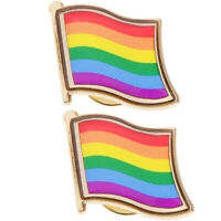 2pcs Rainbow Flag Metal Pin Badge-LGBT Lesbian Gay Diversity Pride Symbol