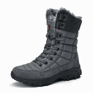 Winter Warm Hiking Outdoor Boots Mens Fleece Lined Mid Calf High Top Snow Boots