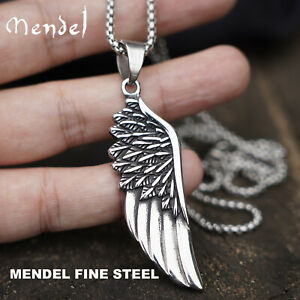MENDEL Mens Stainless Steel Angel Wing Feather Pendant Necklace For Men Women