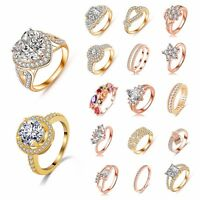 Women 18K Rose Gold Filled  Ring Cubic Zirconia jewelry Engagement Wedding