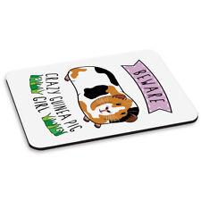 Beware Crazy Guinea Pig Girl PC Computer Mouse Mat Pad - Funny Animal Pet