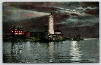 Boston MA~Boston Light Lighthouse~Shines Brighter Than The Moon @ Night~1913 PC