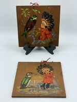 Vintage Pair of Little Chinook Tales Paintings on Wood by G.C. Marsters Indians