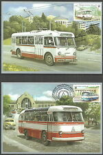 Ukraine - Postkartensatz Nahverkehrsmittel in Kiew 2015 (2 Karten) Mi. 1513-1514