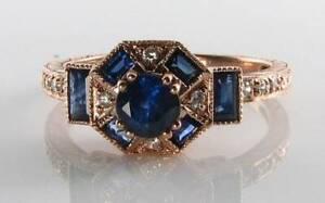 LUSH 9CT 9K ROSE GOLD SAPPHIRE & DIAMOND ART DECO RING Size O Free Reize