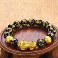 Black Obsidian Beads Alloy Wealth Charm Bracelet  Feng Shui Pixiu Jewelry Gift