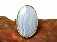 Adjustable  Blue Lace AGATE  Sterling  Silver 925  Gemstone  RING  -  Gift Boxed