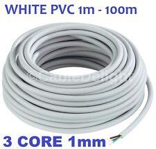 WHITE 3 Core 1.0mm Flexible Flex Mains Wire Cable 1m 100m (3183Y) Per Metre