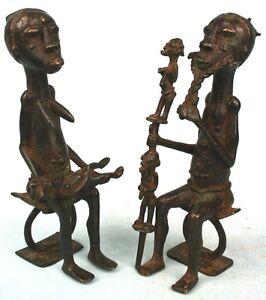 Art Africain Ethnographique - Couple en Bronze Baoulé - 18 Cms - Nice Items ++++