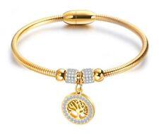 "6.5"" Gold Stainless Steel Magnet Buckle Family Tree Crystal Bangle Bracelet Gift"