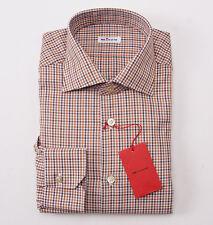 NWT $875 KITON NAPOLI Orange and Brown Check Dress Shirt 17 x 36 Modern-Fit