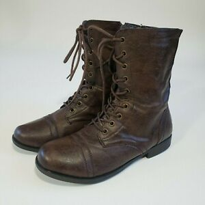 Women's Size 7.5 Daily Shoes Military Combat Boots Ankle High Side Zipper
