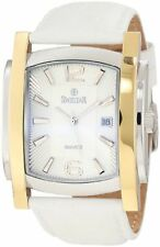 NEW Swistar 660-2M-WH Men's Precision Quartz White Leather Gold and Silver Watch