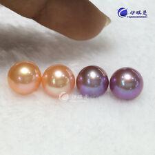 Elegant AAA 8.5-9mm natural south sea pink purple Edison round pearl earring 18k