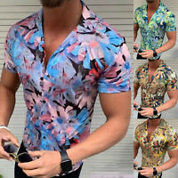 Men's Summer Vintage Casual Dress Shirt Mens Floral Short Sleeve Shirts Tops Tee