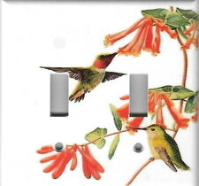 HUMMINGBIRDS HOME WALL DECOR DOUBLE LIGHT SWITCH PLATE COVER