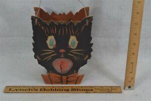 old Halloween cat pumpkin lantern scary original 1940 rare