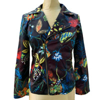 Chicos SIZE 1 Or Small SATIN MultiColored JACKET BLAZER Asymmetrical Tropical