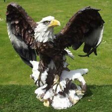 Steinfigur Adler Falke Vogel Greifvogel Raubvogel Steinguss 54 cm Rostoptik