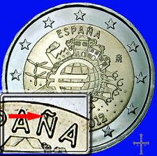 variante error  2€ España euro 2012 TYE conmemorativa  Ñ empastada