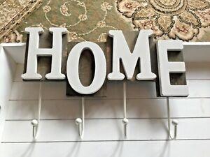 HOME Shabby Chic Key Hook Wall Hanger Home Sign Hanging Coat Key Hook Rack