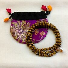 34 Inch Tiger Eye Tibetan Buddhist Prayer Rosary Mala 108 Beads from Nepal