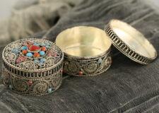 Tibetan Jewelery Box Detail Artisan Handcrafted on White Metal