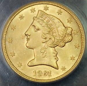 1861 $5 Liberty Half Eagle Gold Coin ANACS MS-60 BU UNC Details