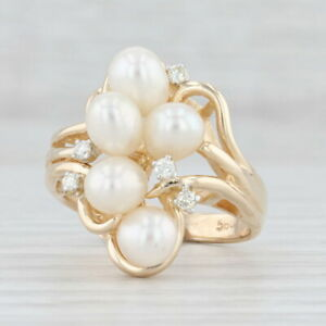 Cultured Freshwater Pearl Diamond Cluster Ring 14k Yellow Gold Size 6