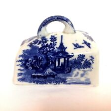 Antique Flow Blue Butter Lid Cover With Orientalist Scene