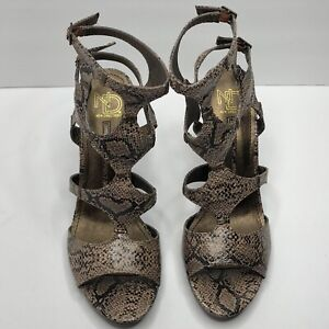 New Directions Snake Print Gladiator Style CAMERON Women's High Heel Shoe Size 9