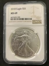 2018 NGC MS 69 American SILVER EAGLE Dollar Coin #350