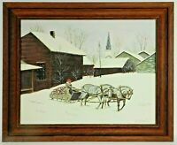 "M.JANE DOYLE SIGNED ORIG. ART OIL/CANVAS PAINTING ""HAULING WOOD"" (VT.SNOW SCAPE)"