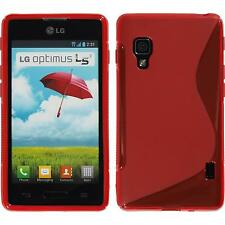 Silicone Case LG Optimus L5 II S-Style red + protective foils
