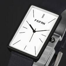 Luxury Lady Women Rectangle Shape Quartz Sport Black Leather Strap Wrist Watch
