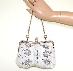 BOLSA BLANCA mujer pochette cadena plata elegante clutch bag bolso strass G23