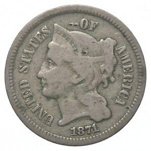 ***3***THREE***Cent*** - 1871 Three Cent Nickel Piece - Tough to Find *408