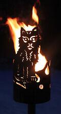 Katze Fackel - Set mit Stiel und Wachsrollen Gartenfackel Feuerschale