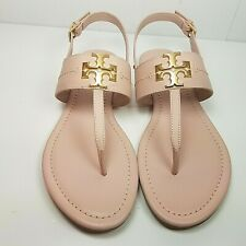 Tory Burch women T-strap  Flat Sandals Seashell Pink leather shoes Everly 8 new