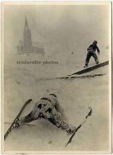 Ski-Anfänger, Original-Photo um 1930.