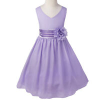 Flower Girl Princess Pageant Wedding Party Formal Prom Kids Chiffon Dress 2-14Y