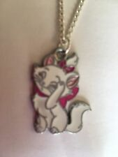 "Aristocat cat Disney girls  Necklace 16"" Silver plated chain in Gift Bag."
