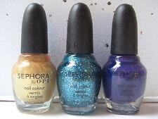 LOT 3 MINI SEPHORA OPI Nail Polish~CHARGE IT GOLD, BLUE, PURPLE~ Brand NEW!