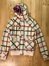 BILLABONG PLAID COLORFUL COAT SIZE MEDIUM LINED IN PURPLE