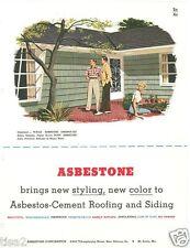 1953 ASBESTONE ASBESTOS-Cement Roofing Siding Fireproof Insulating Vtg Catalog