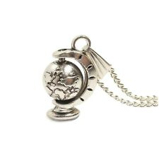 Steampunk Victorian 3D Spinning World Globe Necklace Planet Earth Charm Silver